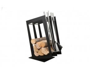 Stojak na drewno + przybory kominkowe - symbol SA 002B