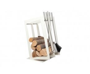 Stojak na drewno + przybory kominkowe - symbol SA 002W